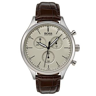 Hugo Boss Companion Men's Stainless Steel Brown Strap Watch - Product number 6957463