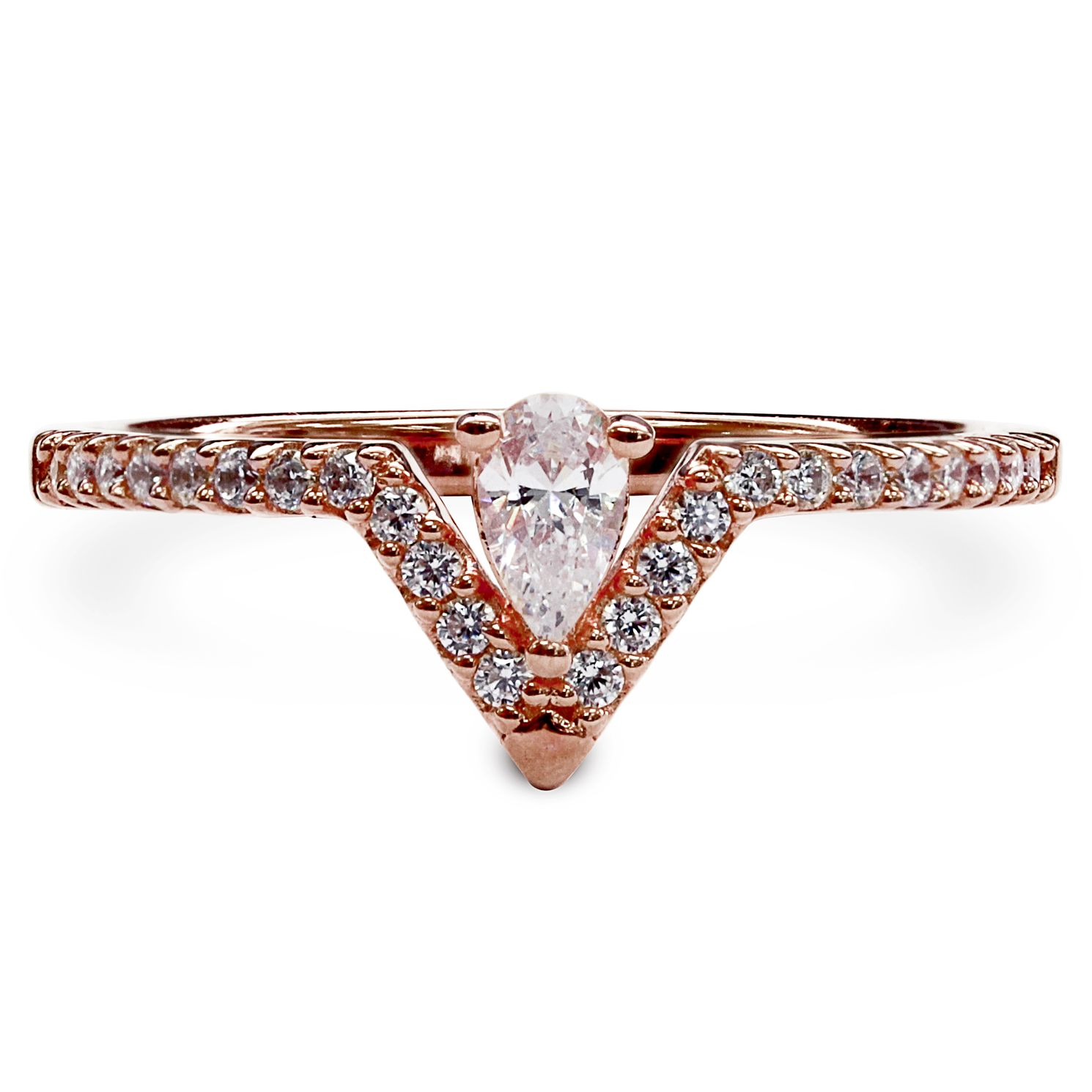 CARAT* LONDON Victoria Rose Gold Plated Ring Size L - Product number 6957803