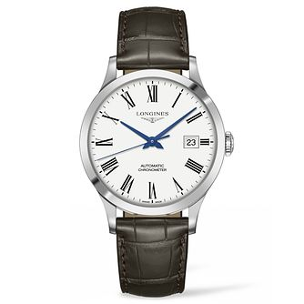 Longines Record Men's White Dial Brown Strap Watch - Product number 6959237