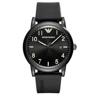 Emporio Armani Men's Ion Plated Black Strap Watch - Product number 6988318