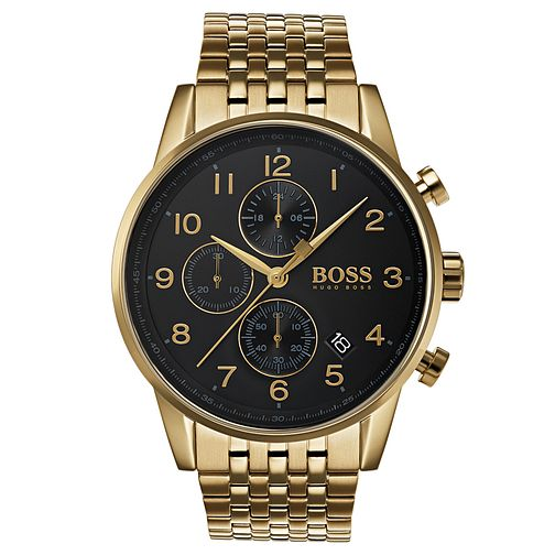 BOSS Navigator Men's Gold Plated Chronograph Watch - Product number 6988601