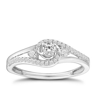 9ct White Gold 1/5ct Diamond Solitaire Twist Ring - Product number 8001642