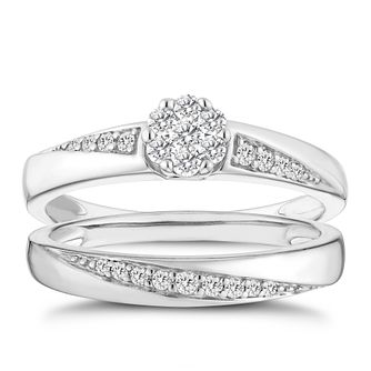 9ct White Gold 0.30ct Total Diamond Brilliant Cut Bridal Set - Product number 8009996
