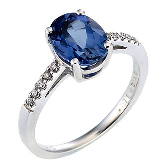 9ct White Gold Created Sapphire & 0.15ct Diamond Ring - Product number 8017085