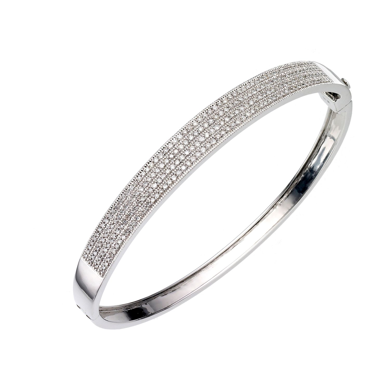 9ct White Gold One Carat Diamond Pave Set Bangle - Product number 8017816