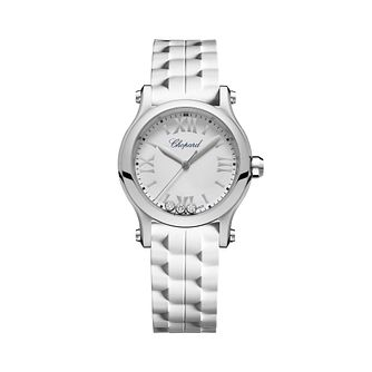 Chopard Happy Sport Ladies' White Rubber Strap Watch - Product number 8020280
