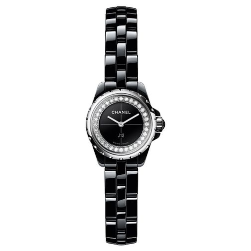 Chanel Ladies J12xs Black Ceramic Diamond Bracelet Watch