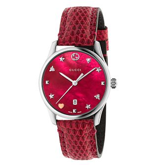 Gucci G-Timeless Ladies' Red Leather Strap Watch - Product number 8021368