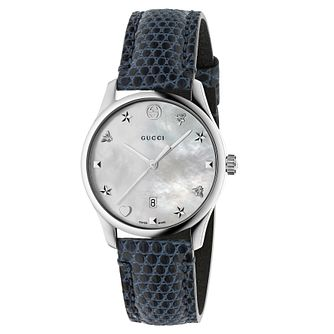 Gucci G-Timeless Ladies' Blue Leather Strap Watch - Product number 8021686