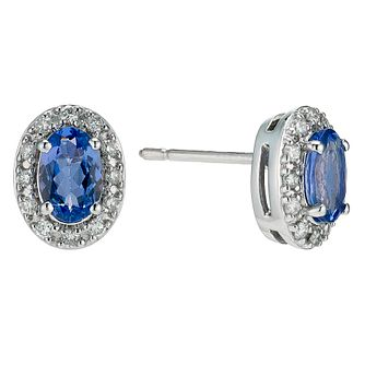 18ct white gold certified tanzanite & diamond earrings - Product number 8022100