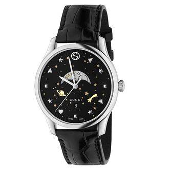 Gucci G-Timeless Ladies' Moonphase Black Leather Strap Watch - Product number 8027471
