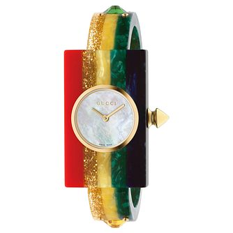 Gucci Fashion Ladies' Plexiglass Rainbow Rubber Strap Watch - Product number 8027560