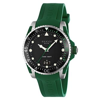 Gucci Dive Men's Green Rubber Strap Watch - Product number 8027692