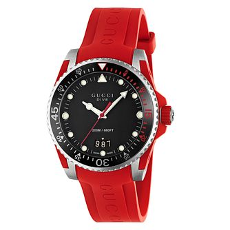 Gucci Dive Men's Red Rubber Strap Watch - Product number 8027706