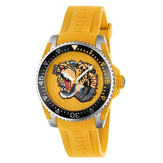 Gucci Dive Men's Lion Dial Yellow Rubber Strap Watch - Product number 8027714
