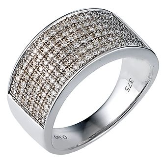 Men's 9ct White Gold 0.50ct Pave Diamond 10mm Ring - Product number 8027986