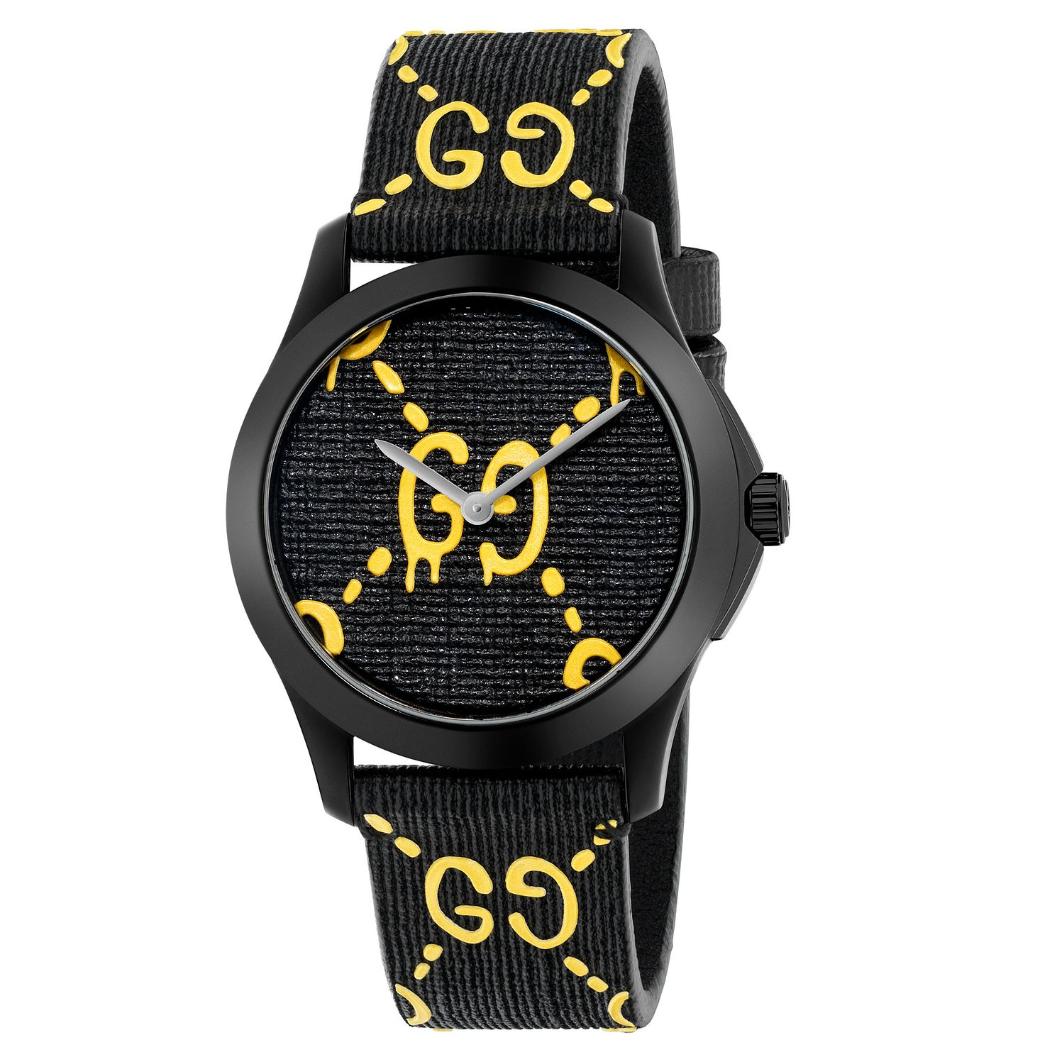 Gucci G-Timeless Ghost Graffiti Black Rubber Strap Watch - Product number 8028192