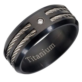 Titanium and Diamond Men's Ring - Product number 8029199