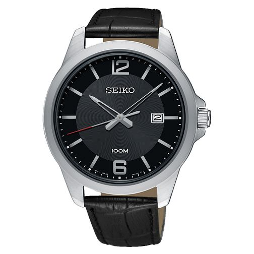 Seiko Men's Black Leather Strap Watch - Product number 8032475
