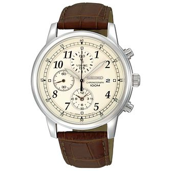 Seiko Men's Brown Leather Strap Chronograph Watch - Product number 8034869