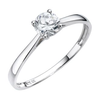 9ct White Gold Cubic Zirconia 1/2 Carat Look Solitaire Ring - Product number 8039577