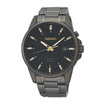 Seiko Kinetic Men's Iron Plated Round Black Bracelet Watch - Product number 8043086