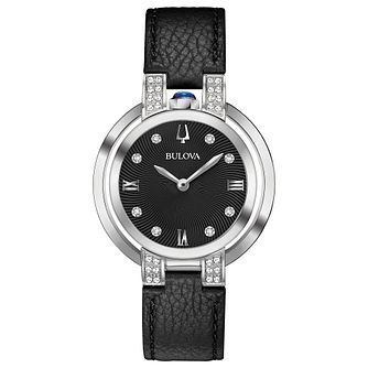 Bulova Rubaiyat Ladies' Black Leather Strap Watch - Product number 8043523