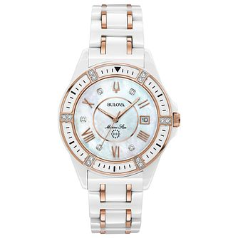 Bulova Ladies' Marine Star White Ceramic Bracelet Watch - Product number 8043590