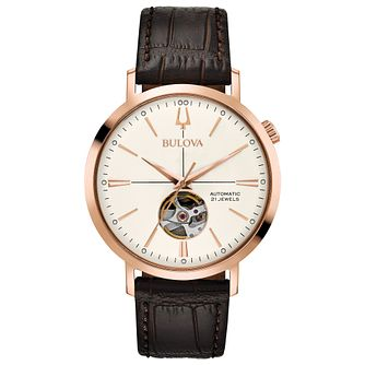 Bulova Men's Classic Automatic Brown Leather Strap Watch - Product number 8043655