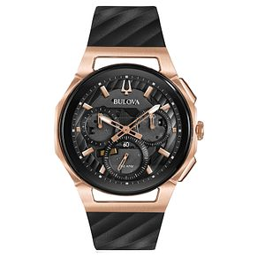 Bulova Men's Curv Chronograph Black Leather Strap Watch - Product number 8043671