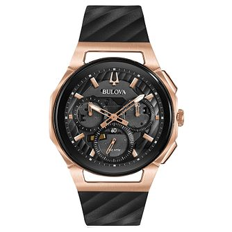 Bulova Men's Curv Chronograph Black Silicone Strap Watch - Product number 8043671