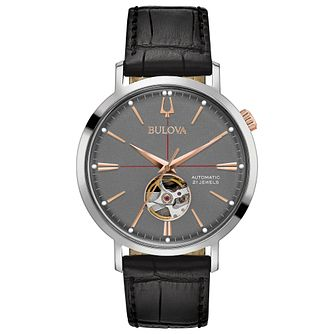 Bulova Men's Classic Automatic Black Leather Strap Watch - Product number 8043701