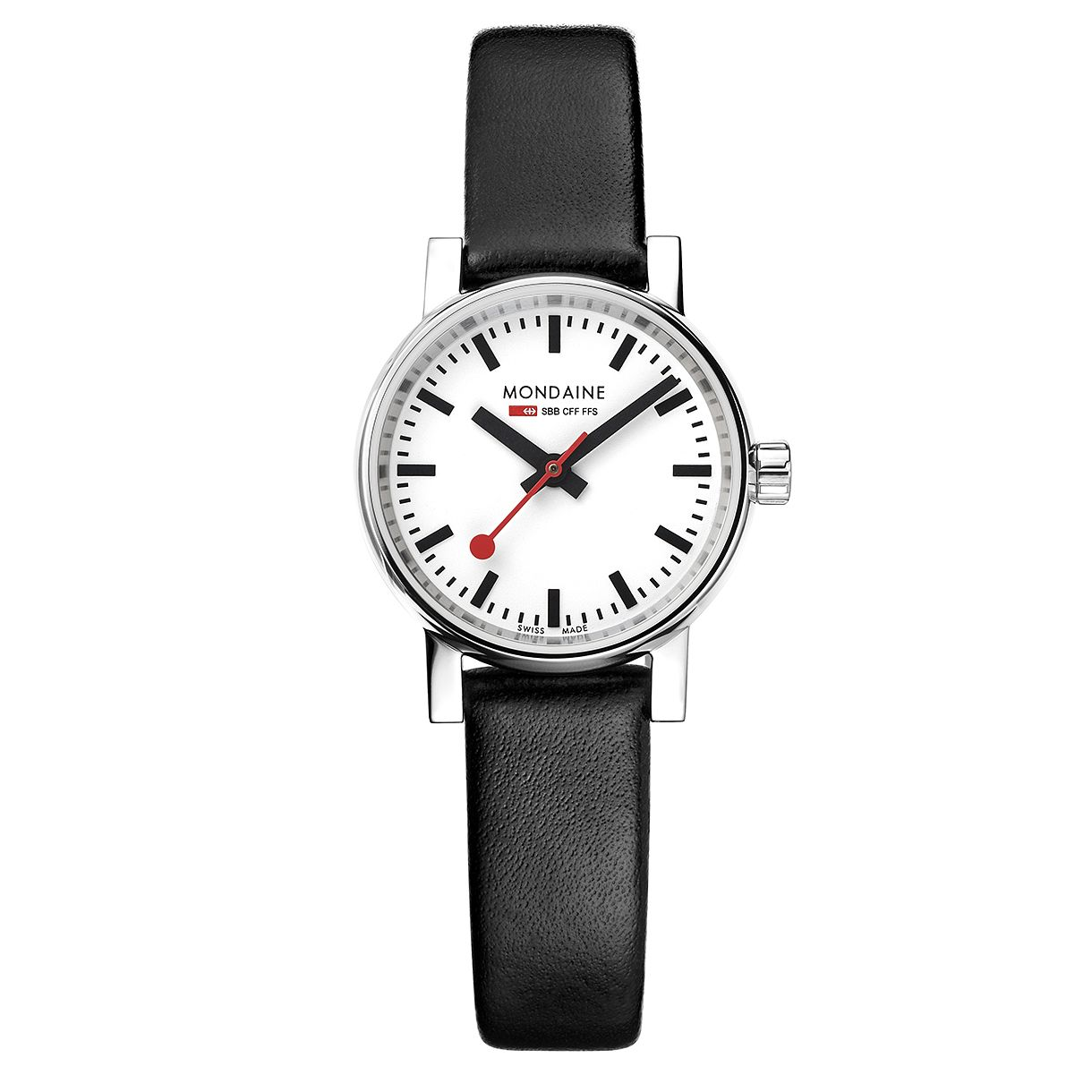 Mondaine SBB evo2 Petite Ladies' Black Leather Strap Watch - Product number 8043825