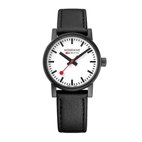 Mondaine SBB evo2 Ladies' Black Leather Strap Watch - Product number 8043876