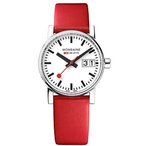 Mondaine SBB evo2 Ladies' Big Date Red Leather Strap Watch - Product number 8043884