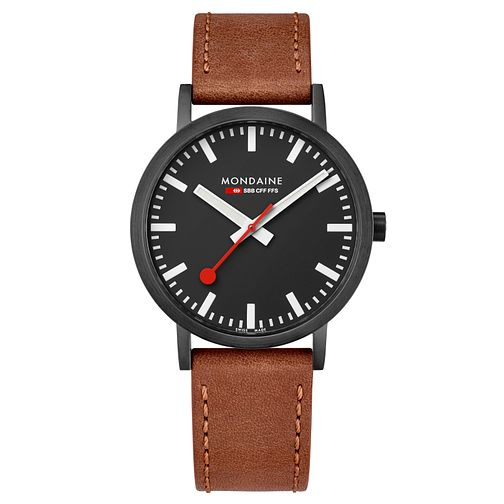 Mondaine SBB Classic Men's Brown Leather Strap Watch - Product number 8043973