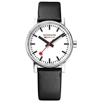 Mondaine SBB evo2 Men's Black Leather Strap Watch - Product number 8043981