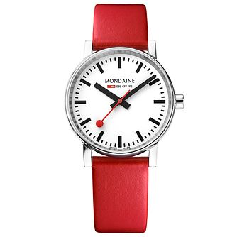 Mondaine SBB evo2 Men's Red Leather Strap Watch - Product number 8044007