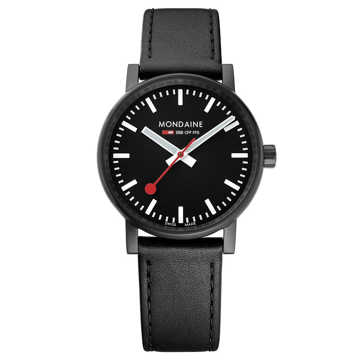 Mondaine SBB evo2 Men's Black Leather Strap Watch - Product number 8044023