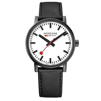 Mondaine SBB evo2 Men's Black Leather Strap Watch - Product number 8044031