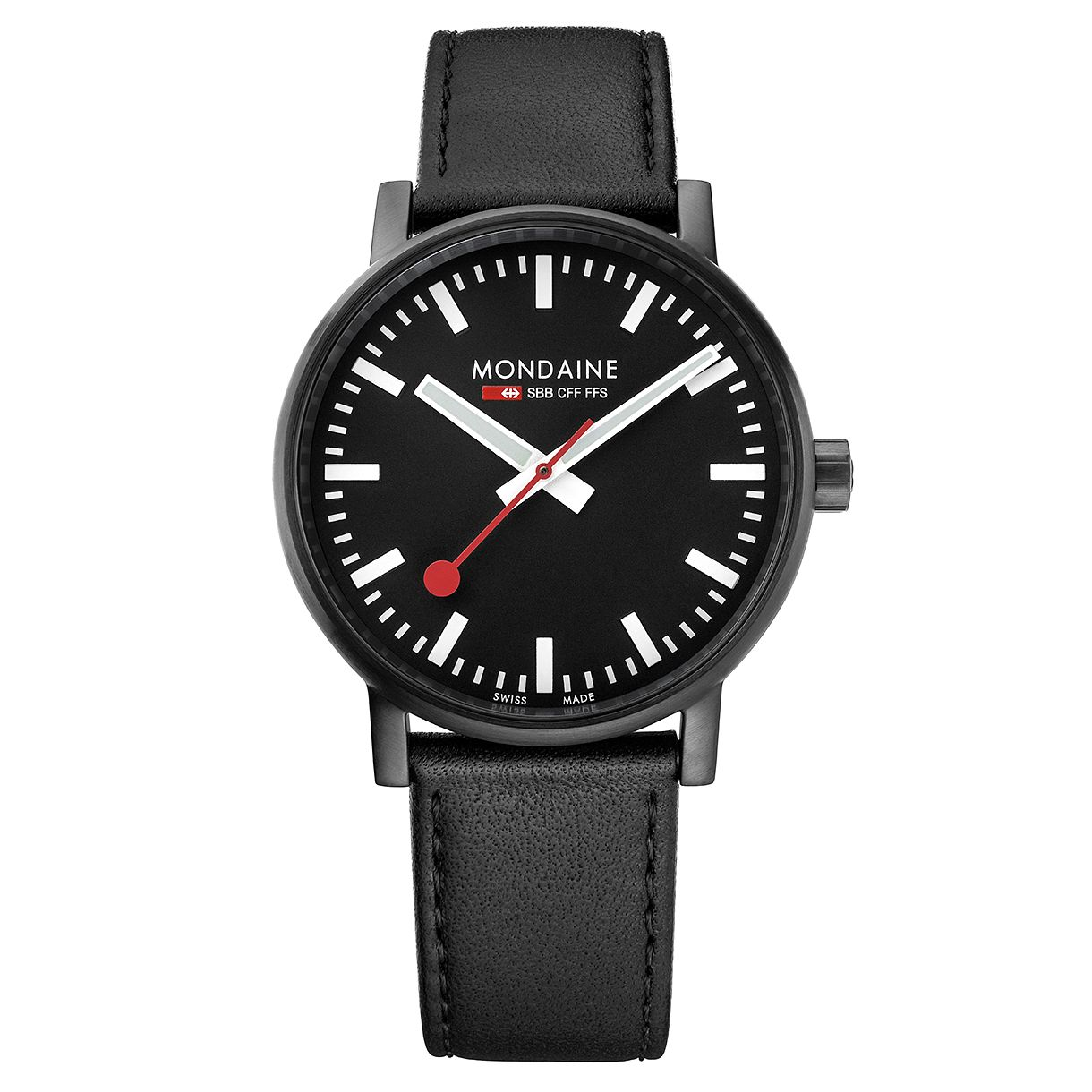 Mondaine SBB evo2 Men's Black Leather Strap Watch - Product number 8044058