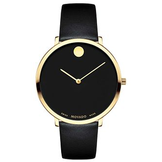 Movado Museum Ladies' Yellow Gold Plated Black Strap Watch - Product number 8046042