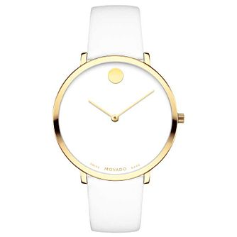 Movado Museum Ladies' Yellow Gold Plated White Strap Watch - Product number 8046050