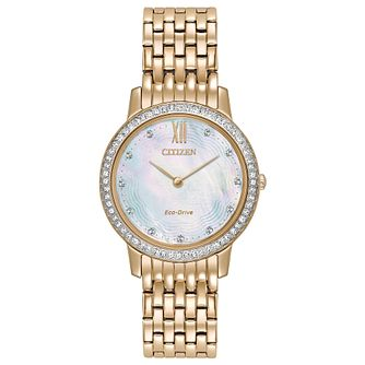 Citizen Ladies' Eco Drive Rose Gold Tone Crystal Watch - Product number 8046212