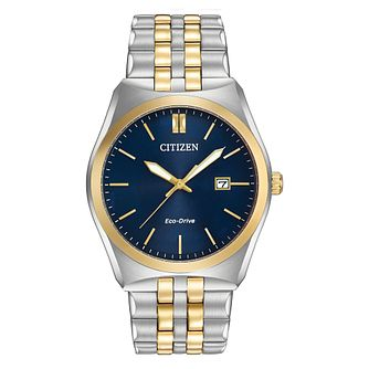 Citizen Men's Eco Drive Silver & Gold Plated Blue Watch - Product number 8046263