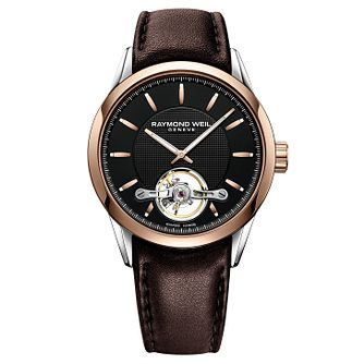 Raymond Weil Freelancer Men's Brown Leather Strap Watch - Product number 8047030