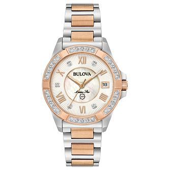 Bulova Marine Star Ladies' 2 Colour Diamond Bracelet Watch - Product number 8047103