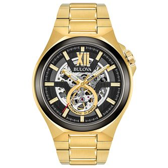 Bulova Automatic Men's Gold Plated Steel Bracelet Watch - Product number 8047146