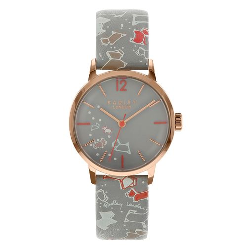 Radley London Speckle Dog Ladies' Grey Leather Strap Watch - Product number 8048576