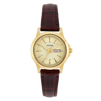 Citizen Ladies' Brown Leather Strap Watch - Product number 8048738